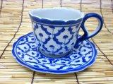 ブルー/ホワイト コーヒーカップ ソーサー付  2