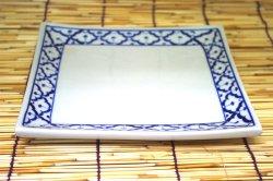 画像1: ブルー/ホワイト 正方形皿大