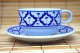 ブルー/ホワイト コーヒーカップ ソーサー付 3