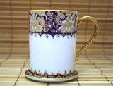 マグカップ ソーサー付き 白×紺