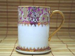 画像1:  マグカップ ソーサー付き 白×ピンク