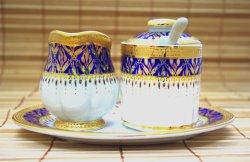 画像1: ミルク&シュガーセット2 ホワイト×ブルー×ゴールド