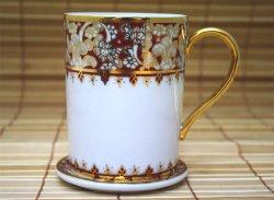 画像1:  マグカップ ソーサー付き 白×茶