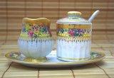 ミルク&シュガーセット2 ホワイト×花×ゴールド