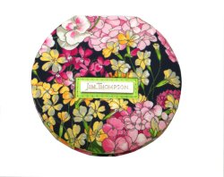 画像1: ジムトンプソン タイシルク 手鏡 花 ブラック