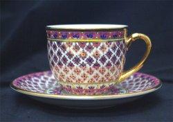 画像1: コーヒーカップ&ソーサー 丸型 ピンク