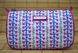 画像1: ジムトンプソン タイシルク ポーチ  白×花柄