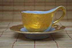 画像1:  コーヒーカップ ソーサー付き ゴールド×白