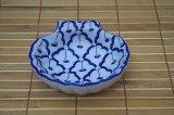 ブルー/ホワイト 貝殻形皿 小