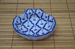 画像1: ブルー/ホワイト 貝殻形皿 小