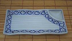 画像1: ブルー/ホワイト 長方形皿2