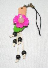 携帯ストラップ レザー  花柄  ピンク
