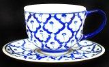 ブルー/ホワイト コーヒーカップ ソーサー付 1