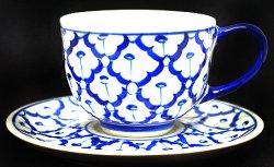 画像1: ブルー/ホワイト コーヒーカップ ソーサー付 1