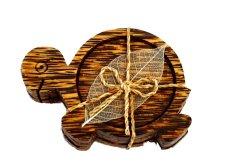 画像1: コースター 木製 3枚組み  亀