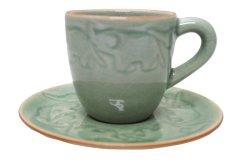 画像1: セラドン焼き コーヒーカップ&ソーサー 象柄3