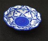 ブルー/ホワイト 花形 丸皿 極小