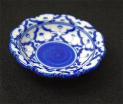 画像1: ブルー/ホワイト 花形 丸皿 極小