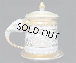 画像1: ベンジャロン焼き マグカップ ゾウ 蓋・ソーサー付き